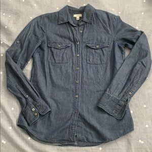 J Crew deep indigo denim button up shirt